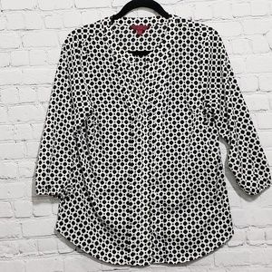 212 Collection black and white blouse button-up